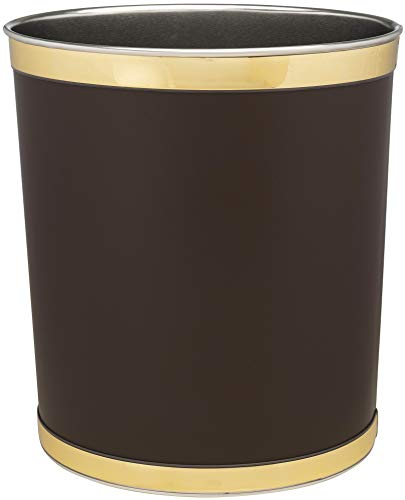 Made in USA 5Gallon Faux Brown Leather Sleek and Stylish Vinyl Waste Basket 13quot X 11quot