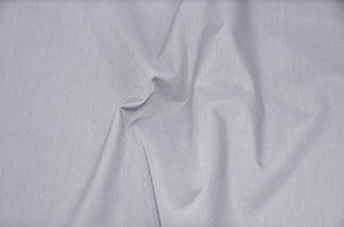 """60"""" Wide Premium Cotton Blend Broadcloth Fabric by The Yard (Silver)"""