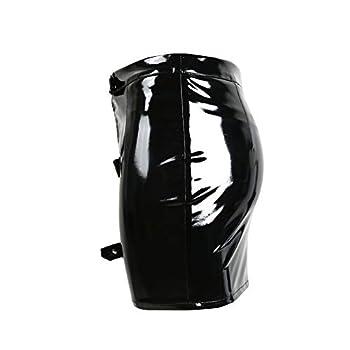 Sexy Vinyl Skirt Mini Skirt Leisure Form-Fitting Stretch Metallic Party Dress Skirts Shiny Gogo Clubwear x  Color   Black Size   M