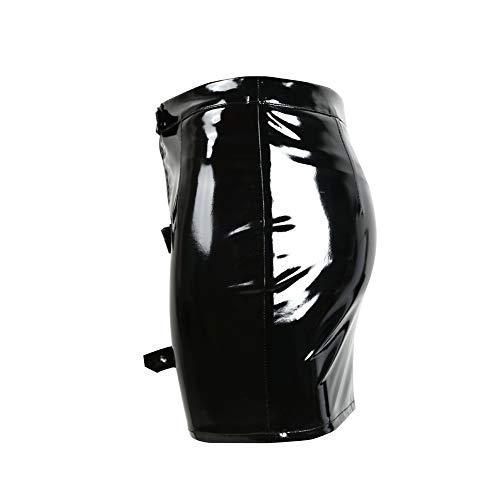 Yiyu Sexy Lackrock, Mini Rock Freizeit Figurbetont Stretch Metallic Party Kleid Röcke Glänzend Gogo Clubwear x (Color : Black, Size : M)