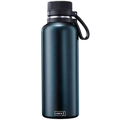 Lurch 240975 Outdoor Isolierflasche / Thermoflasche für heiße und kalte Getränke aus doppelwandigem Edelstahl 1,0l, midnight blue