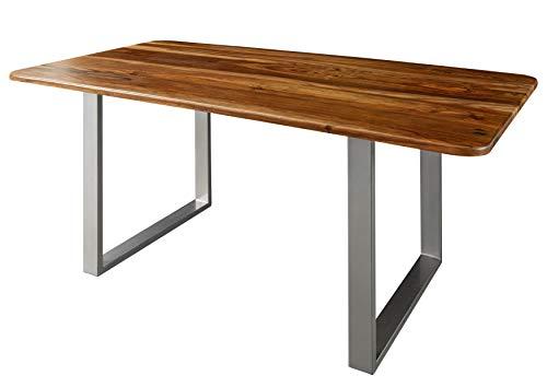 MASSIVMOEBEL24.DE Toronto #235 Table à manger en bois de sheesham 200 x 100 x 76 cm Noyer laqué