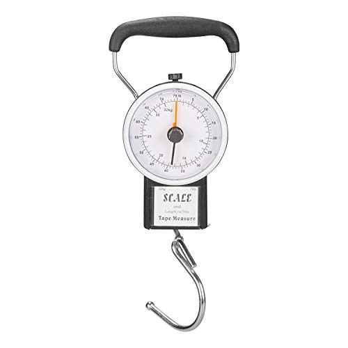 """Manual Luggage Scale w/Built-in Tape Measure Weighs Bags-To 75lbs.- Measures Bag Up To 39"""" Black-One Size"""