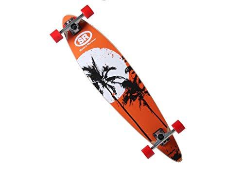 BUSDUGA Longboard 97 x 21cm Skateboard aus Ahornholz, HQ-Kugellager ABEC 11 High-Speed, wählen Sie Ihr Design (Palmen)