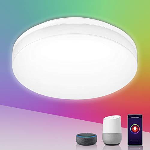LE Alexa Plafoniera LED WiFi Impermeabile, 15W (=100W) 1250lm, 16 Milioni RGB + Bianco Regolabile 2700-6500K, Lampada da soffitto IP54, Controllo da App e Voce, Compatibile con Alexa e Google Home