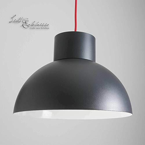 Deckenlampe Vintage graphit rot E27 bis 60W 230V Metall Leuchte Halbkugel Loftlampe modern Pendelleuchte Wohnzimmer Esszimmer Jugendzimmer