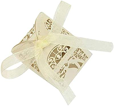 TOOGOO 25 Ivory Couple Design Luxury La Cut Wedding Sweets Candy Gift Favour Boxes with Ribbon