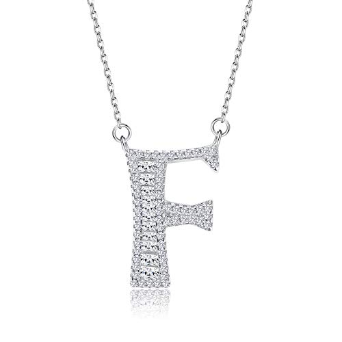 Kalapure Sterling Silver Initial Necklace with Swarovski Crystal Cubic Zirconial 26 Letters Alphabet Pendant Necklace Personalized Jewelry for Women Teen Girls (F)