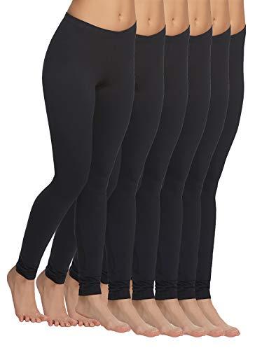 Felina | Velvety Soft Lightweight Leggings | Moisture Wicking | Yoga | 6 Pack (Medium, Black)