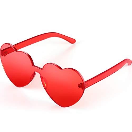 Maxdot Heart Shape Sunglasses Party Sunglasses (Transparent Red)