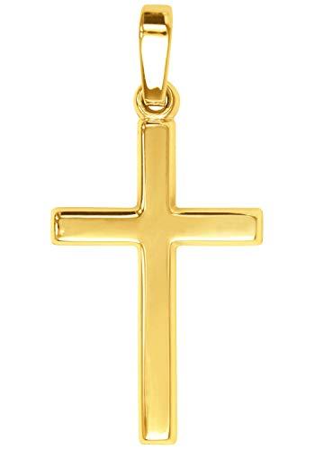 MyGold Kreuz Anhänger (Ohne Kette) Gelbgold 375 Gold (9 Karat) Glanz 25mm x 12mm Goldkreuz Kreuzkette Halskette Kreuzanhänger Weihnachtsgeschenk Geschenk Für Herren Frauen Landour A-02220-G601