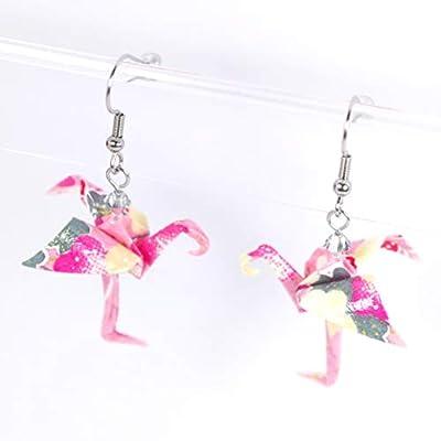 Boucles d'oreilles flamant roses et jaunes origami - crochets inox