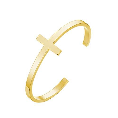 follwer0 Pulseras de acero inoxidable para mujer con cruz, pulsera religiosa, pulsera bíblica cristiana, joyas, regalos dorado Talla única