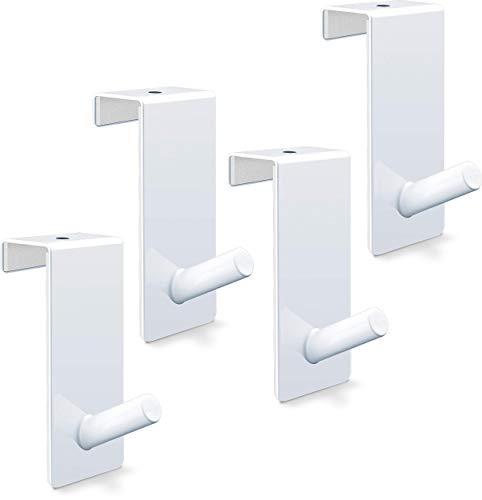 relibo Premium Türhaken mit schützendem Schaumstoff an beiden Innenseiten | schicke Türhaken für Bad, Wohnzimmer, Garderobe und Küche - hochwertiger weiß lackierter Stahl (4er Set)