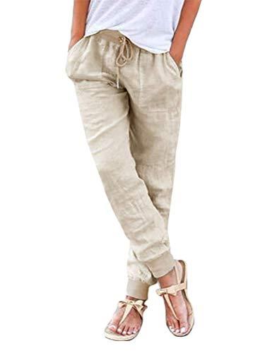 ORANDESIGNE Pantacourt Femme Ete Causal Taille Haute Taille élastique Lin Ample Pantalon Fluide 7/8 Longueur Pants Beige X-Large