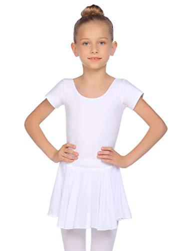 Balancora Ballettkleid Mädchen Ballettkleidung Kurzarm Baumwolle Ballettanzug Balletttrikot mit Chiffon Wickelrock Tütü, Weiß, 130(5-6 Jahre)