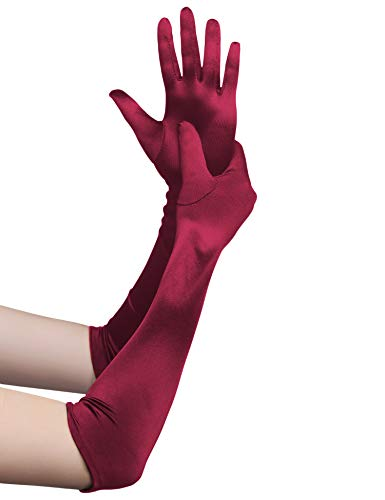 BABEYOND Damen Handschuhe Satin Opera Fest Party Audrey Hepburn Handschuhe 1920er Stil Handschuhe Elastisch Erwachsene Größe Ellenbogen bis Handgelenk Länge 52cm (Lang Glatt 52cm / Weinrot)