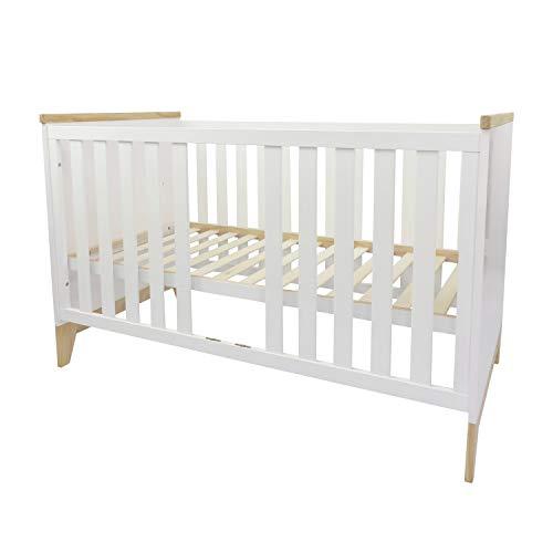 Puckdaddy Babybett Ida – 140x70 cm, Bett aus Holz in Weiß, höhenverstellbares Gitterbett, Skandinavisches Design
