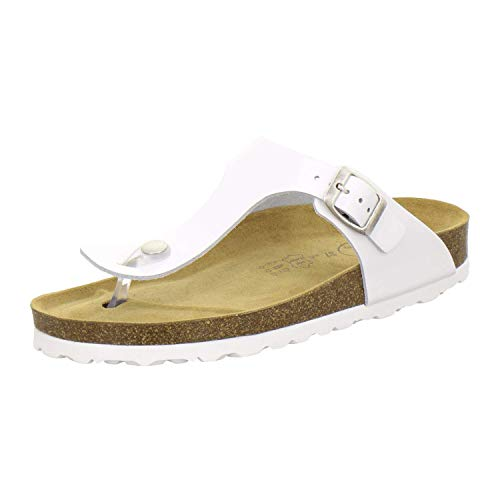 AFS-Schuhe 2107, modische Zehentrenner Damen Sandale aus Leder, Bequeme Pantoletten mit Fussbett Made in Germany (39 EU, Weiß)