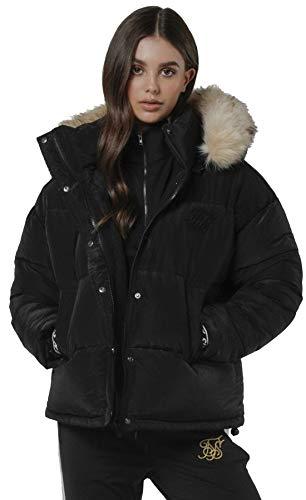 Sik Silk - Chaqueta Tipo Plumas SSW-1331 SHORTT Puff Parka Jacket Black -Chaqueta DE Abrigo para Mujer (XS)