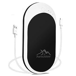 Awroutdoor Calentador de Mano Recargable,7800mAh /5200mAh Calentadores de Manos Bolsillo USB,Banco de Energía Power Bank Calentador de Mano eléctrico de Reutilizable para Esquiar, Acampar, Caminar