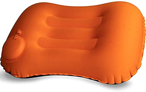 Outdoor Camp Camping Pillow - Ultralight Inflatable Travel Pillows -Hiking - Compressible, Lightweight, Ergonomic Neck & Lumbar Support - Perfect for Backpacking or Airplane Travel (Orange)