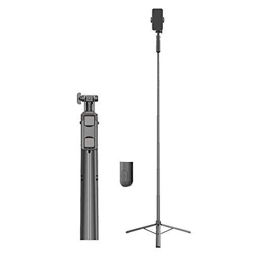 Hourongw Trípode profesional para selfies, soporte de vídeo de viaje estable con control remoto Bluetooth, con luz de relleno, ligero, compacto, plegable