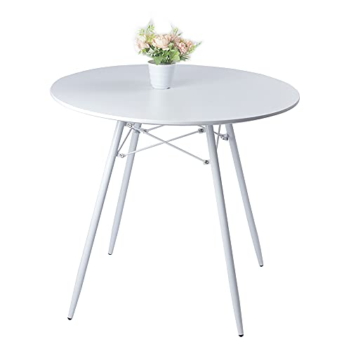 Round Dining Table, Modern Simple Style Mid-Century Wooden Tables with Durable Metal Legs for Living Room Office Lounge Kitchen, White, 80cm diameter x74(H) cm