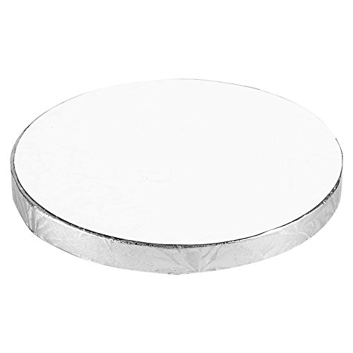 Cake Boards Rounds - 3 Piece Silver Foil Pizza Base Disposable Cake Drums, Corrugated Paper Board, FDA approved, 6 Inches in Diameter