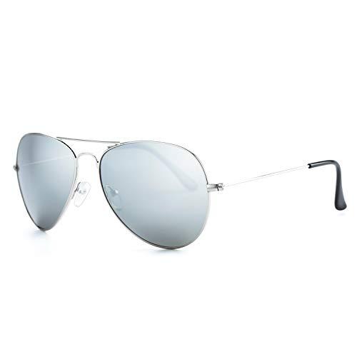 Rocf Rossini gafas de sol de piloto hombre mujer polarizadas retro aviador vogue clasicas súper ligero protección UV400 (Plata/Gris)
