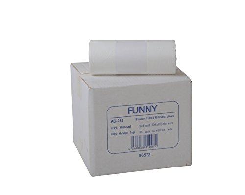 Funny HDPE Müllbeutel, 38.5 x 24.5 x 85 cm, weiß, circa 90 l, für leichte Abfälle, 1er Pack (1 x 360 Stück)