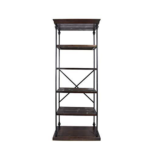 Great Deal Furniture Alma Industrial 5 Shelf Firwood Bookcase, Dark Walnut and Black