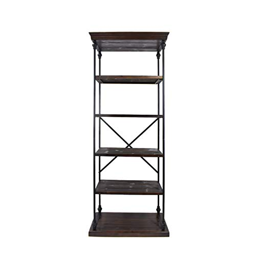 Great Deal Furniture Alma Industrial 5 Shelf Firwood Bookcase, Dark Walnut and Black