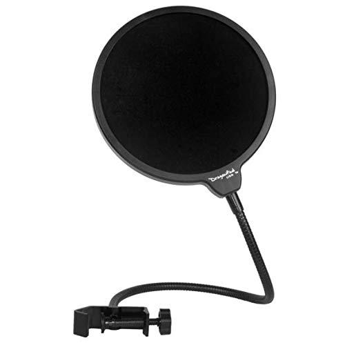 Dragonpad Microfono da studio con filtro antipop e antivento, con supporto girevole a 360°, con braccio flessibile a collo d'oca Full-size Nero