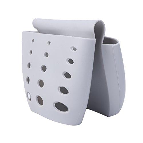 Itemap Sink Holder Hanging Silicone Drain Baskets Kitchen Sponge Storage Organizer (Gray)