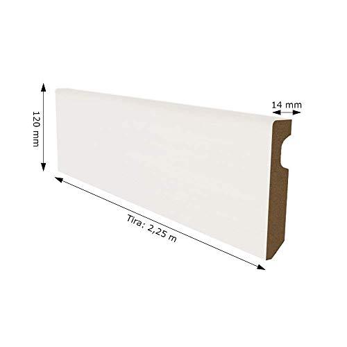 Rodapié Blanco Lacado DM 12cm de alto. PACK de 11,25 metros lineales (5 unidades x 2,25 mtl por Tira). Acabado Recto. Para Tarima Flotante, laminados, parquets