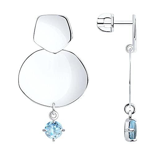 Mirkada - Pendientes de plata con topacio, color azul