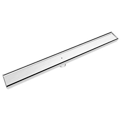 Bronstarz 26-INCH Linear Shower Drain with Tile Insert Grate, Brushed Nickel 304 Stainless Steel for Bathroom Kitchen Pool Floor Drain Strainer
