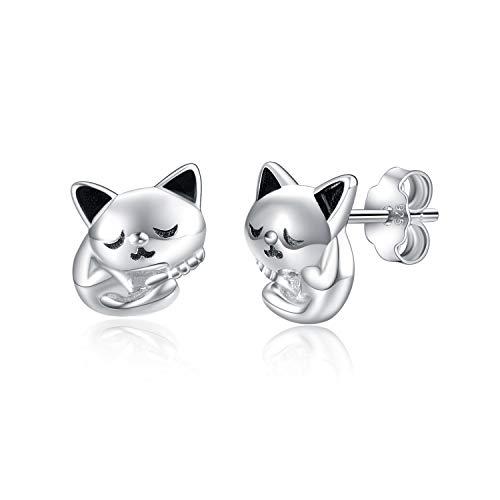 925 Sterling Silber Katze Ohrringe für Frauen Mädchen Kätzchen Ohrstecker