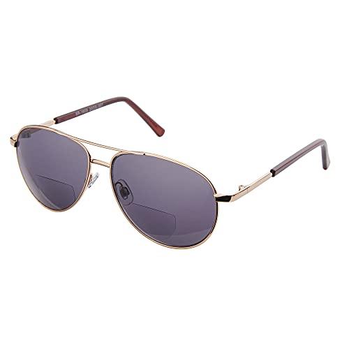 EYEGUARD Bifokale Lesebrille Sonnenbrille, 1 Paar Pilot Leicht Metall Sonnenlesebrille für Damen und Herren (+3.00 Vergrößerung)