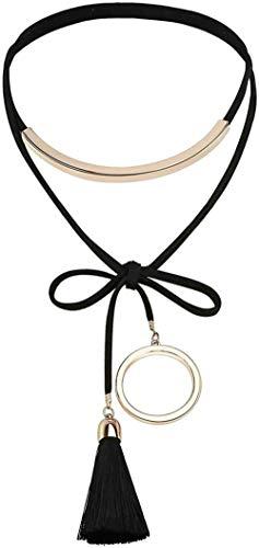 N/W Gargantilla Collar Negro de Terciopelo para Mujer Anillo Hueco Gargantilla con Borla y Lazo Largo con Colgante Negro Oro Rosa