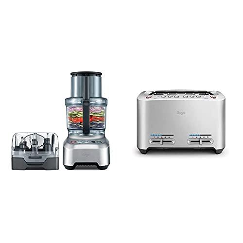 Sage BFP800UK the Kitchen Wizz Pro Food Processor, Silver & BTA845UK the Smart Toaster 4 Slice Motorised Toaster - Silver