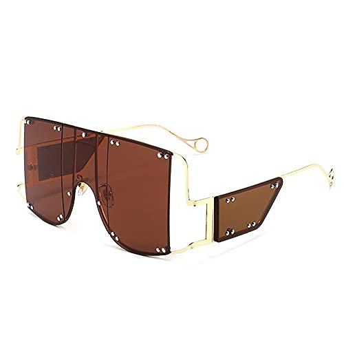 HAIGAFEW Gafas De Sol Cuadradas De Aleación De Tonos Verdes De Gran Tamaño para Mujer Gafas De Remache De Metal Gafas Femeninas Únicas Proteger Los Ojos-marrón