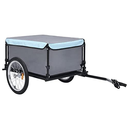 vidaXL Fahrrad Lastenanhänger Klappbare Deichsel Fahrradanhänger Transportanhänger Anhänger Handwagen Radanhänger Schwarz Blau 65kg