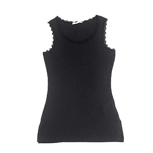 Camiseta Tirante Ancho Canalé Algodón para Mujer (Negro, XL)