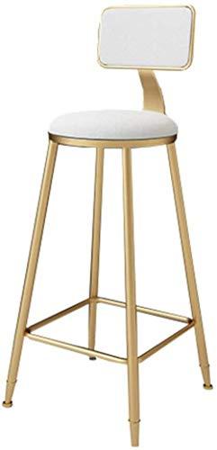 NYDZ Barhocker Stuhl Velvet On-Trend Küche und Frühstück Barhocker mit Rückenlehne Metallbeinen mit Fußstützen Weich gepolsterter Hoch Zähler Dining Chair (Color : White, Size : 75cm)