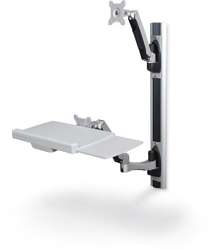 """Balt HG Wall Mount Sit to Stand Workstation, 34.65""""H x 22.87""""W x 7.91""""D"""