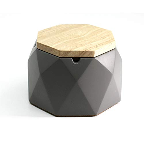 NNR Cenicero de cigarrillo con tapa de madera, octogonal de cemento geométrico, resistente al viento, hecho a mano, para apartamentos, patios, oficina.