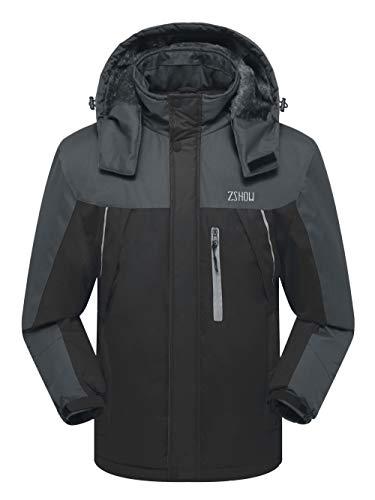 ZSHOW Men's Waterproof Windproof Fleece Ski Jacket Outdoor Insulated Snow Jacket(Black+Grey,US M)
