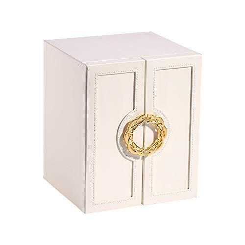 Grandes joyas de marca del cuadro Organizador Con Metal, 5 capas de alta capacidad de escritorio caddie, caso de almacenamiento de cuero de la PU la joyería de madera decorativa, for Pulseras Pendient